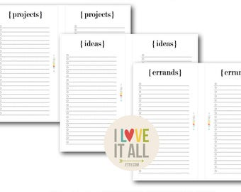 To Do List, Printable Planner Pages, Filofax, Minimalist, Projects, Errands, Ideas, Planning, Project List, Errand List, Lined Notes Paper