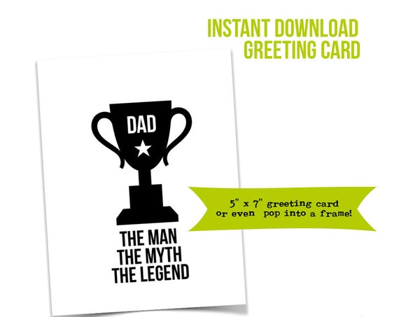 Dad, The Man The Myth The Legend, Card for Dad, Father's Day Card, Birthday Card for Dad, Baby Daddy, New Dad Card, Fatherhood, Daddy