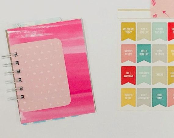 Love Journal, Blue Crochet Heart, Mixed Media, Junk Journal, Mini Book, Smashbook, Scrapbooking, Ephemera, Embellishment Kit, Mini Album