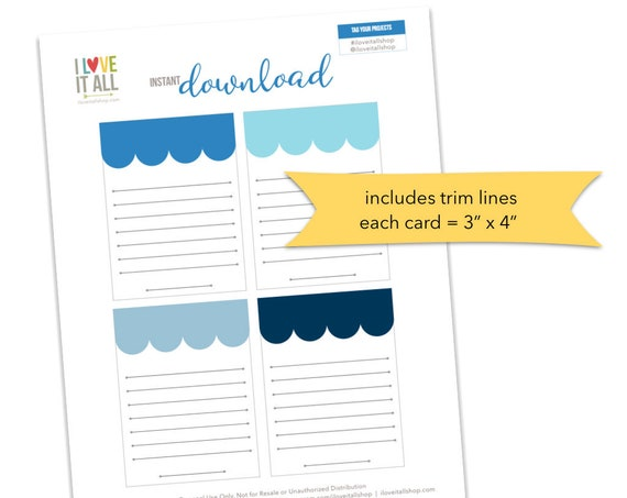 Blue Journaling Cards, Scallop Banner Cards, Lined Notes, Lined Card, Scrapbooking, Pocket Pages, Scallop Banner Note Cards, Card with Lines