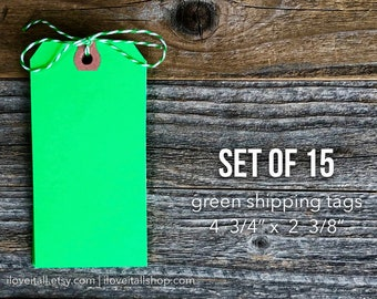 Green Shipping Tags, Large Green Tags, Media Shipping Tags, Manila Tag, Set of 15 Green Gift Tags, Hang Tag, Scrapbooking, Planner Supplies