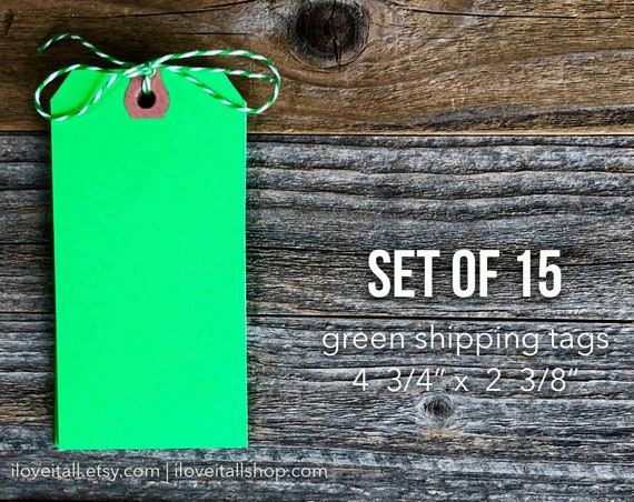 Green Shipping Tags, Large Paper Tags, ShippingTag, Junk Journal Ephemera, Hang Tag, Set of Tags, Green Hang Tag, Paper Tag, Green Tag