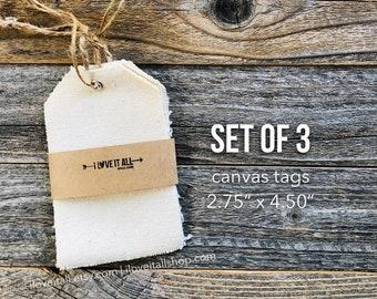 Canvas Tags, Natural Canvas Hang Tags, Cloth Tags, Fabric Tags, Rustic Gift Tag, Stampable Tag, Gift Tags, Hang Tag, Journaling Supplies
