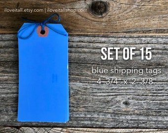 Large Blue Shipping Tags, Blue Tags, Media Shipping Tags, Manila Tag, Set of 15 Blue Gift Tags, Hang Tag, Scrapbooking, Planner Supplies