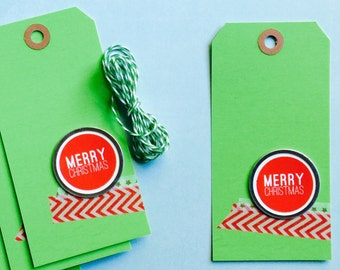 Merry Christmas Holiday Gift Tags | Planner Travelers Notebook Journal December Daily Project Life Insert Mini Album Scrapbooking Red Green