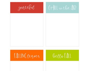 Fall Journaling Cards, Grateful, Hello Fall, Chill in the Air, Pocket Cards, Project Life,Digital Journal Cards, Planner Supplies, Gratitude