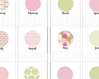 Perpetual Calendar Printable, Birthday Calendar, Printable, Floral Calendar, Mood Tracker, Anniversary, Printable Monthly Calendar, Preppy