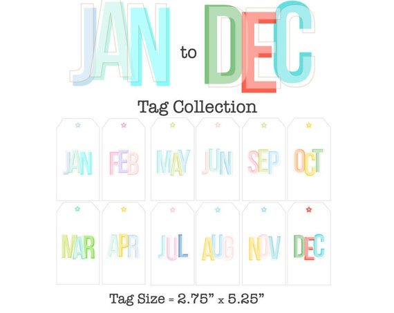 Monthly Tag Printable Collection, DIY Journal Kit, Tag Collection, Printable Tags, Months of the Year, January through December, Manila Tags