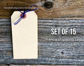 Large Manila Shipping Tags, Manila Shipping Tags, Media Shipping Tags, Manila Tag, Set of 15 Gift Tags, Hang Tag, Planner Supplies, Wedding