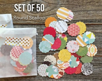 Paper Confetti, Round Scallop Die Cuts, Set of 50, Scalloped Paper Die Cuts, Journaling Supplies, Paper, Card Making, Art Journaling