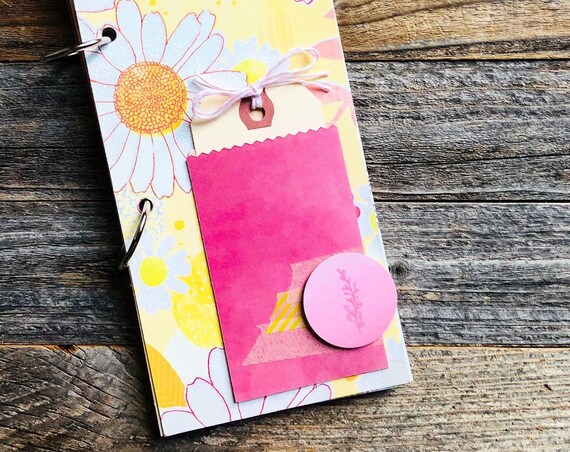 Junk Journal, Mixed Media, Quotes Journal, 30 Lists, Mini Book, Smashbook, Ring Bound Journal, Scrapbooking, Mini Album, Floral, Pink