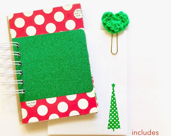 Green Glitter, Polka Dot, Christmas Junk Journal, Christmas Journal, Lists Journal, Mixed Paper Journal, Smashbook, Christmas, Mini Book