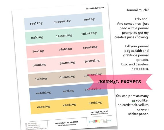 Currently Journaling Prompts, Printable Journal List Ideas, Word Phrase Sticker Labels, Junk Journaling Supplies, Rectangle Label Stickers
