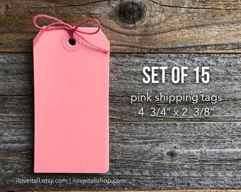 Pink Tags, Pink Hang Tags, Journaling Tag, Shipping Tags, Pink Paper Gift Tags, Large Hang Tag, Scrapbook Ephemera, Planner Supplies, Pink