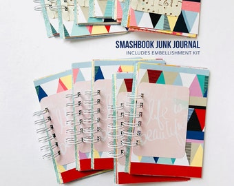 Junk Journal, Smashbook, Travel Album, Mixed Paper Journal, Mini Book, Scrapbook, Mini Album, Paper Ephemera,Mixed Media Notebook