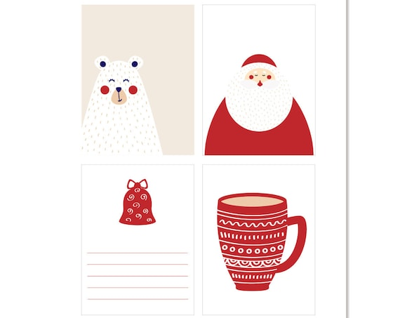 Christmas, Nordic, Scandinavian, Santa, Coffee, Cocoa, Coffee Mug, Bell, Polar Bear, Journaling Cards, Pocket Cards, Scrapbooking, Modern