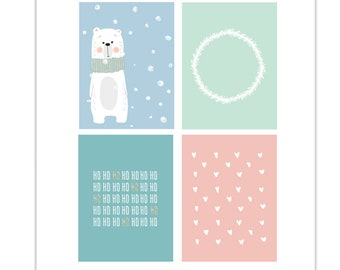 Heart Doodles, Woodland Cards, Christmas Tags, Hearts, Bear Journaling Card, Ho Ho Ho, Woodland Wreath, Pocket Card, Snow, Bear in the Snow