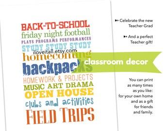 TEACHER GIFT, Printable, Digital Art, Student, School, Subway Art, Poster Print, Wall Decor, Teach, Appreciation Gift, Classroom Decor