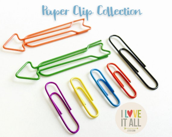 Paper Clip Collection, Arrow Paper Clips, Orange Red Blue Green Purple Yellow, Planner Supplies, Filofax, Bujo Planner, Primary Colors
