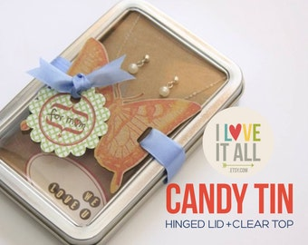 "Candy Tin, Rectangle Window Tin with Hinged Lid, Paint Palette, Needle Storage, Treat Box, Clear Lid Tin, Rectangle Tin, 5.25"" x 3.50"""