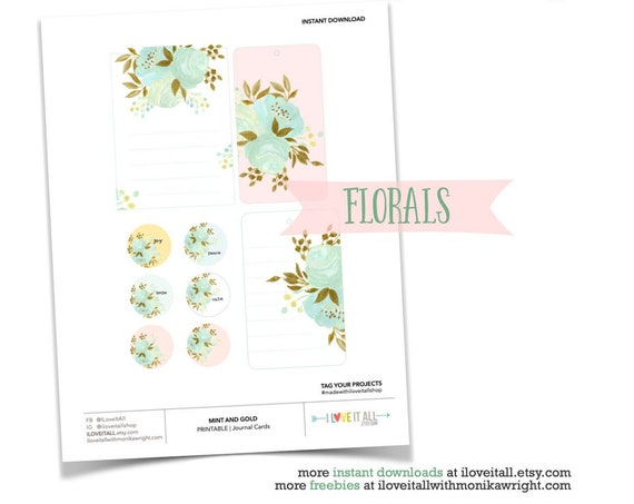 Pink and Mint Floral Gold Foil Tags, Gold Foil Journaling Cards, Pink and Mint Florals, Junk Journaling, Journaling Prompts, Printable