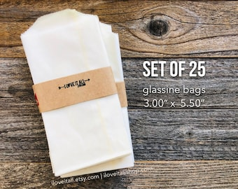 Flat Glassine Bags, Merchandise Bags, Treat Bags, Candy Buffet Sacks, Wedding Reception, Favor Bag, Goodie Bags, Planner Supplies