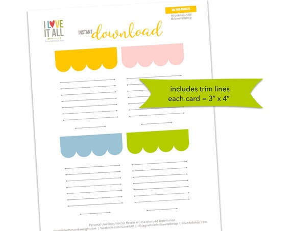 Bright Colorful Journaling Cards, Scallop Banner Cards, Lined Notes, Lined Card, Scrapbooking, Pocket Pages, Scallop Banner Note Cards, Line