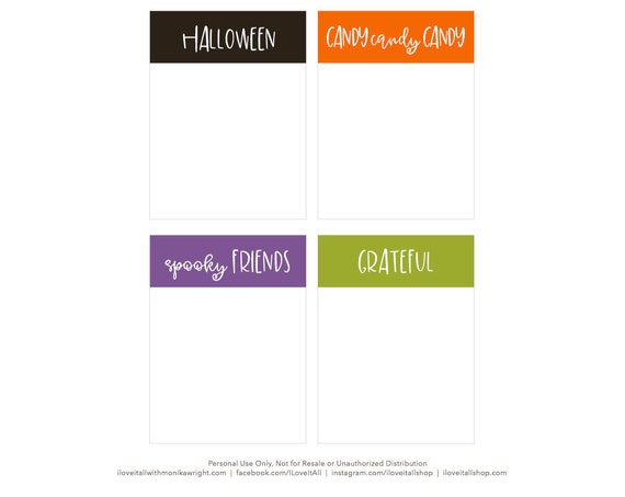 Halloween, Journaling Cards, Candy, Spooky Friends, Grateful, Pocket Cards, Download, Digital, Trick or Treat, Fall, Gratitude, Holiday