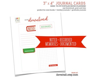 Red Journaling Spots, Memories, Noted, Recorded, Documented, Journaling Card, Journal Card, Red, Journaling, December Daily, Scrapbooking
