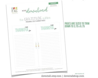 Gratitude Journal, Printable Planner Pages, I Am Thankful For, Filofax, Colorful Planner Page, Instant Download Planner Page, Gratefulness