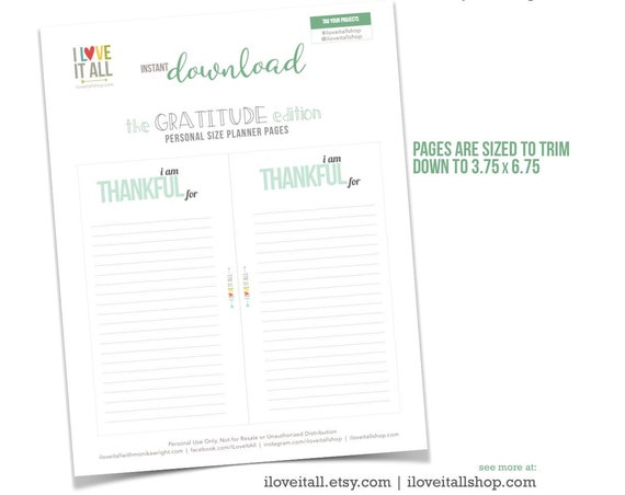 Gratitude Journal, Planner Download, Printable Planner Pages, I Am Thankful, Filofax Printable, Planner Page Download, Planner Pages