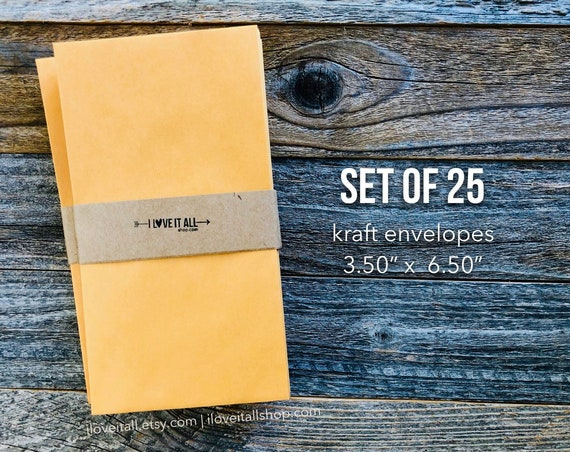Coin Envelope, Cash Envelope System, Tall Envelope, Skinny Envelope,  3.50 x 6.50, Kraft, Manila, Envelopes, Stationery, Stationary, Set