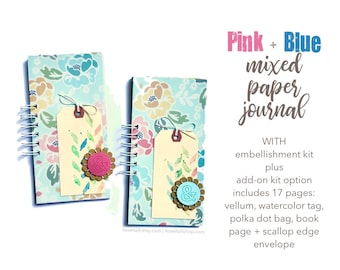 Pink and Blue Floral Journal, Mixed Media Journal, Mini Book, 30 Lists Book, Scrapbooking, Notebook, Listing Journal, Mini Album for Lists