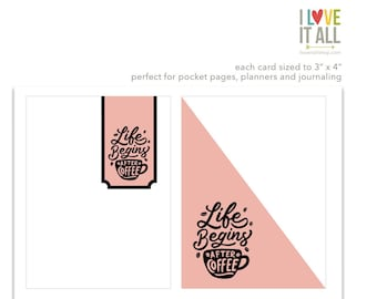 Life Begins After Coffee, Pink Journaling Cards, Pocket Pages, Scrapbooking, Planner Supplies, Cardmaking, Coffee Cup, Coffee Drinker,