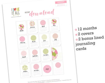 3x4 Month Cards, Printable Monthly Calendar, 2020, PInk Floral, Instant Download, Scrapbooking, Project Life, Bujo, Planner, Journal Cards