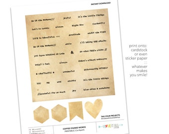 Parchment Paper Word Strips, Journaling Prompts, Coffee Stained Ephemera, Parchment Paper, Stickers,Printable Words for Junk Journaling