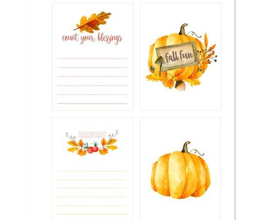 Count Your Blessings, Fall Fun, Harvest, Pumpkin, Leaves, Autumn, Fall, Journaling Cards, Pocket Scrapbooking, Project Life, Digital, Nuts
