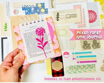 Mixed Paper Junk Journal Book, Mixed Media Art Journal, Collage Mini Book Album, Smashbook Journal, Art Journal, Scrapbook, Junk Journaling