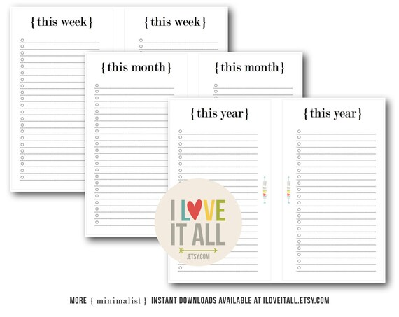 To Do List, Printable Planner Pages, Minimalist, This Week, This Month, This Year, Lined Notepaper, Planning, Filofax, Weekly, Monthly