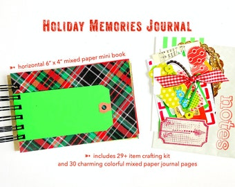 Christmas Memory Album, Holiday Junk Journal, Mixed Papers Mini Book, Mixed Media, Smashbook Scrapbooking, Red and Black Plaid
