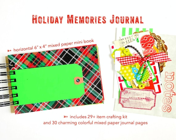 Christmas Holiday Junk Journal Album, Christmas Junk Journal, Lists Journal, 30Lists, Mixed Papers Mini Book Album, Smashbook Scrapbooking