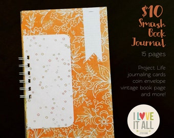 Smash Book, Scrapbook, Mini Album, Mixed Media Notebook, Junk Journal, Art Journal, Ephemera