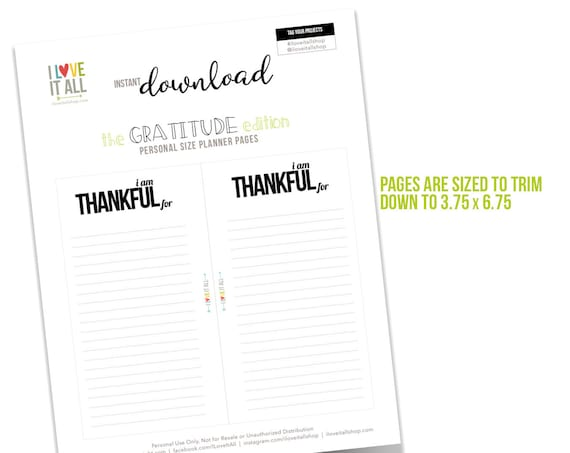 Printable Planner Pages, Planner Pages, Ring Bound Planner Pages, Gratitude Journal Printable, Filofax, Personal Size Page, Planner Download