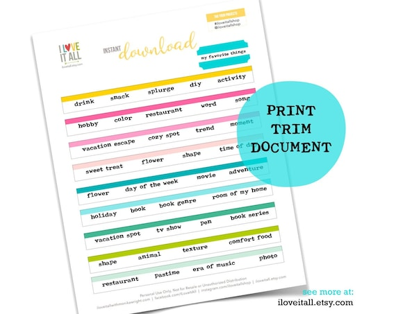 My Favorites, Printable Journaling Prompts, My Favorite Things, Journaling Supplies, Word Phrase, Word Strips, Printable List Prompts