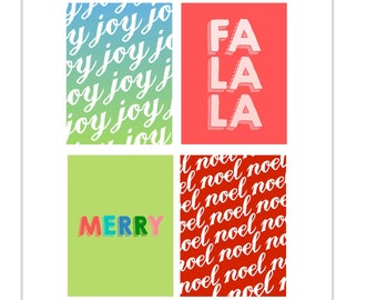Christmas Gift Tags, Joy, Merry, Noel, Fa La La, Journaling Cards, Journal Cards, Joy Journal Card, Fa La La Gift Tag, Holiday Gifts, Tags