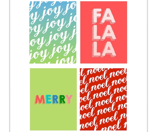 Christmas, Joy Card, Fa La La, Merry Card, Noel Journal Card, Gift Tags, Scrapbooking, Journal Supply, Journaling Cards, Journal Cards