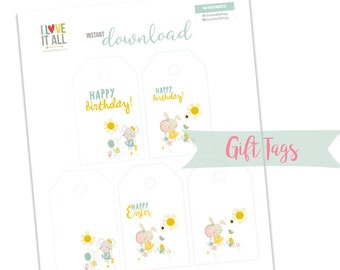 Happy Easter, Happy Birthday Tags, Gift Basket Tags, Happy Easter Gift Tag, Birthday Tags, Cute Mouse, Bunny Gift Tag, Easter Bunny Tags