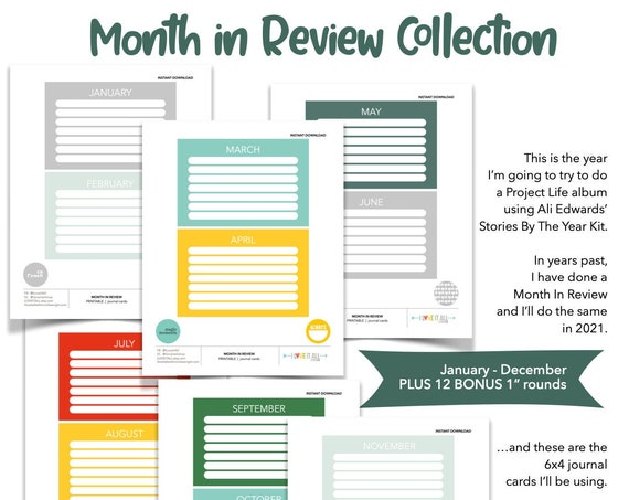 Monthly Goal Worksheet, Monthly Calendar Printable, Project Life Printable Card, Printable Monthly Cards, Monthly Calendar Cards Printable