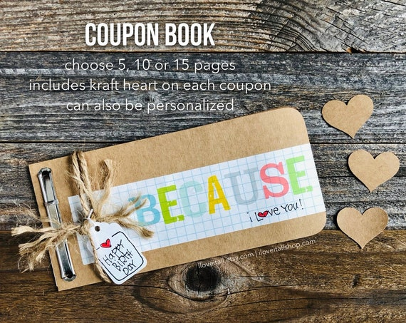 Love Coupons, Coupon Book, Gift for Husband, Boyfriend Gift, Because I Love You, IOU Coupons, Rustic, Masculine, Paper Anniversary, Birthday