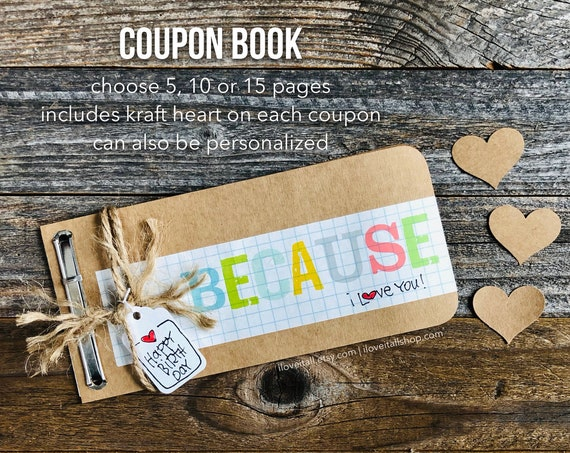 Love Coupon Book, Paper Anniversary, Gift for Husband, Love Coupons, Coupon Book, Because I Love You, IOU Coupons, Rustic Masculine Birthday